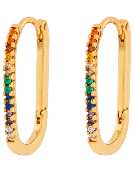 Rainbow Link Hoop Earrings, , large