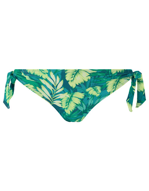 Leaf Print Tie Side Bikini Briefs, Green (GREEN), large