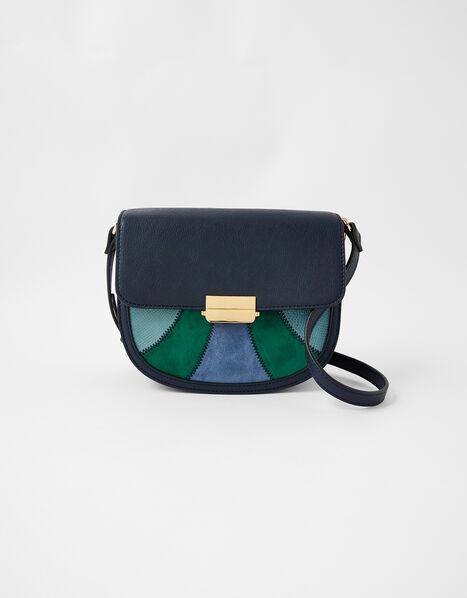Eloise Patchwork Cross-Body Bag Blue, Blue (BLUE), large