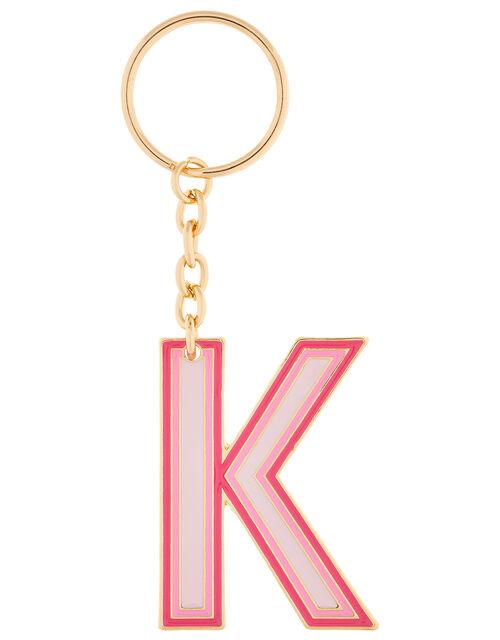 Enamel Metal Initial Keyring - K, , large