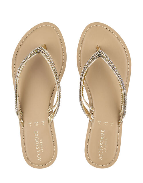 Danielle Double Strap Embellished Flip Flops, Gold (GOLD), large