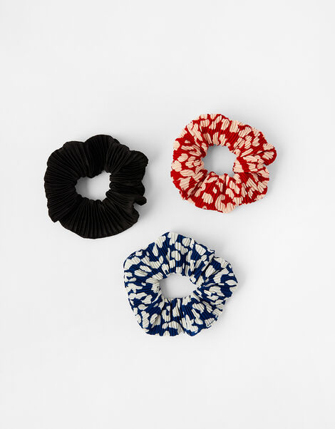 Pleated Animal Hair Scrunchie Set, , large