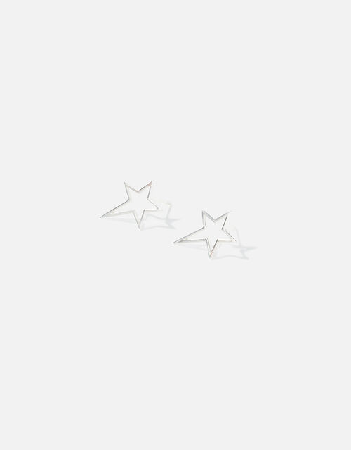 Sterling Silver Cut-Out Star Studs, , large
