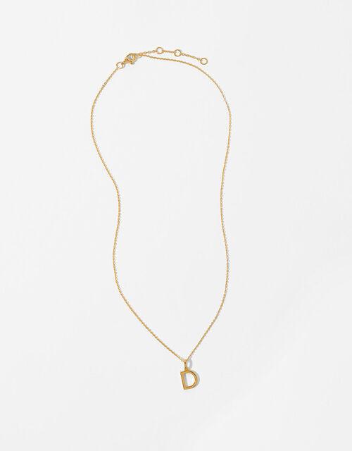 Gold Vermeil Initial Pendant Necklace - D, , large