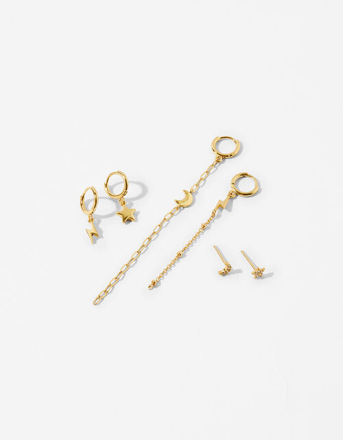 Gold-Plated Celestial Irregular Earring Set, , large