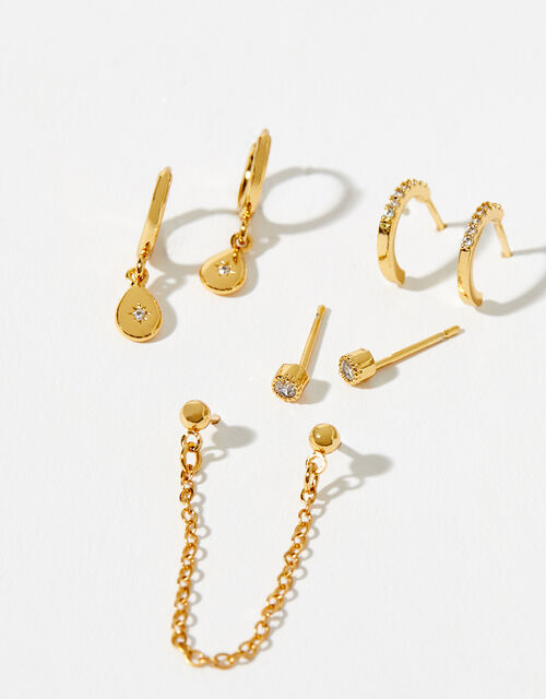 Gold-Plated Sparkle Earring Set, , large