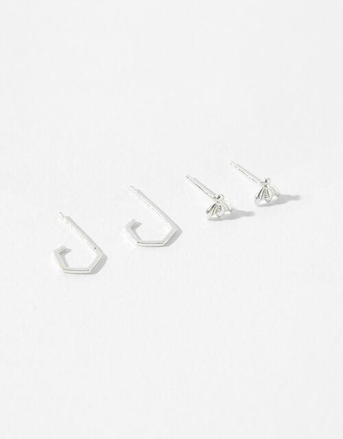 Sterling Silver Bee Earring Set, , large