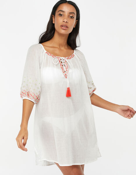 Evie Embroidered Cotton Crop Sleeve Dress White, White (WHITE), large