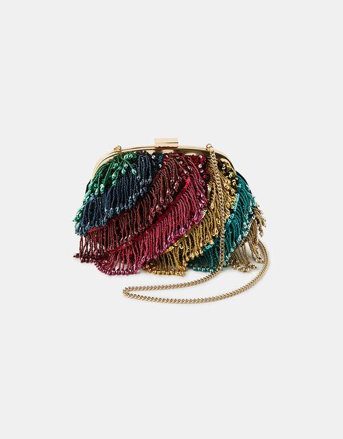 Faye Rainbow Fringe Clipframe Bag, , large