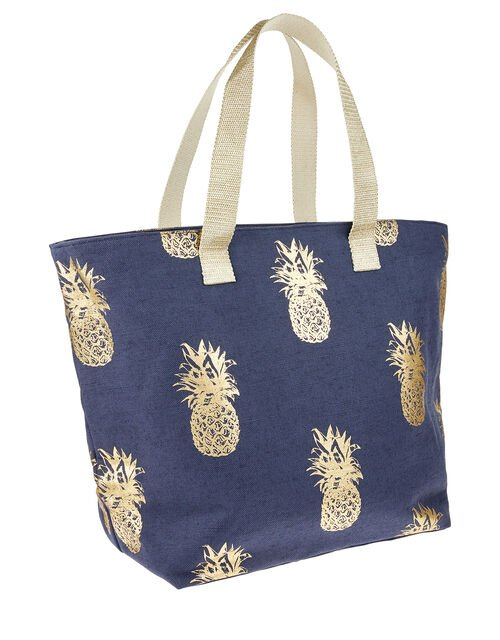 Metallic Pineapple Print Tote Bag, Blue (NAVY), large