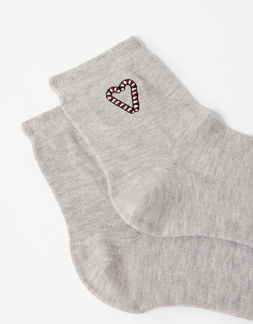 Candy Cane Embroidered Ankle Socks, , large