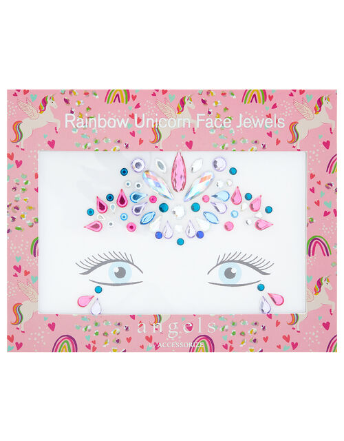 Rainbow Unicorn Stick-On Face Jewels, , large
