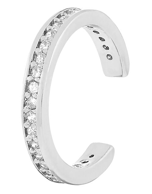 Platinum-Plated Pave Ear Cuff, , large
