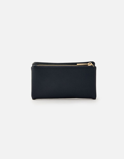 Foldover Zip Coin Purse , Blue (NAVY), large