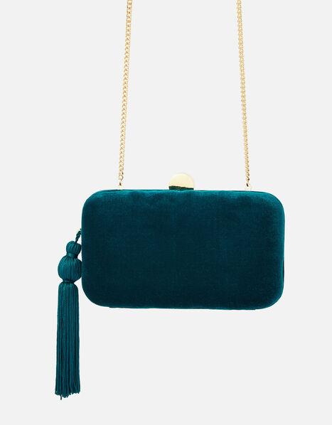 Velvet Hardcase Clutch Bag Teal, Teal (TEAL), large