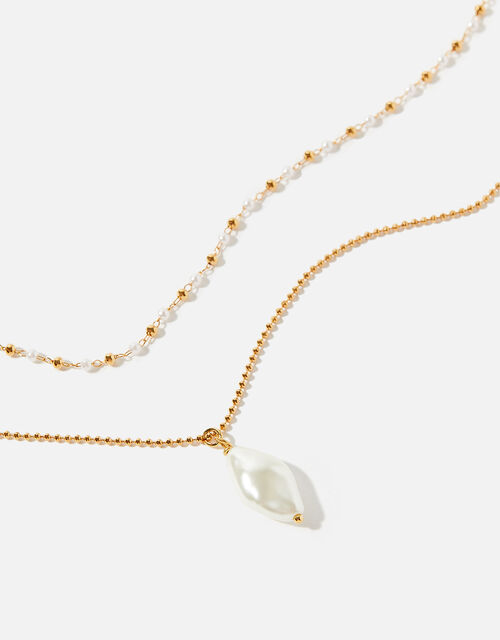 Gold-Plated Pearl and Bead Necklace Set, , large