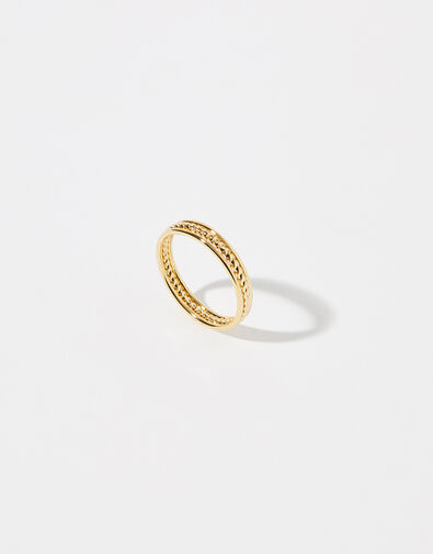 Gold-Plated Rope Band Ring Gold, Gold (GOLD), large