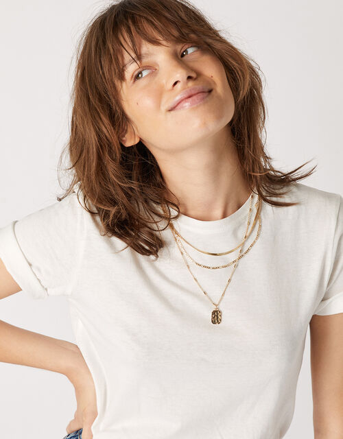 Pendant Multirow Necklace with Recycled Metal, , large