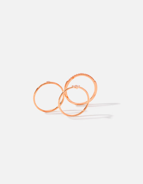 Rose Gold-Plated Pave Stacking Ring Set Gold, Gold (ROSE GOLD), large
