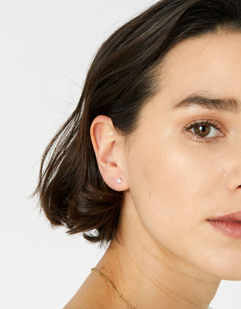Sterling Silver Crystal Stud Earring Set, , large