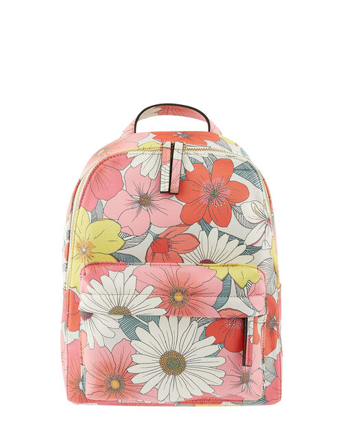 Floral Print Backpack, , large