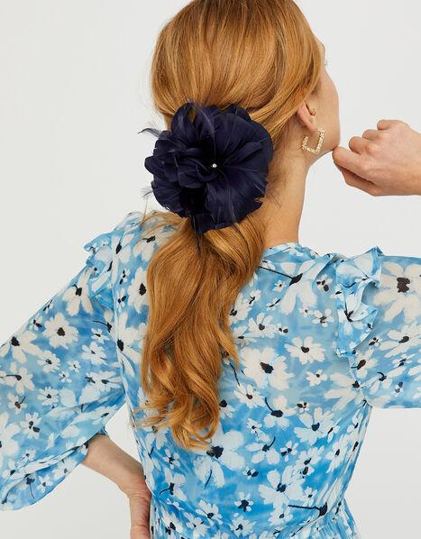 Abigail Net Bow Hair Clip Blue, Blue (NAVY), large
