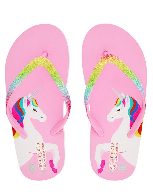Retro Unicorn Glitter Flip Flops, Multi (BRIGHTS-MULTI), large