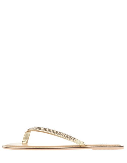Daniella Diamante Flip Flops, White (CRYSTAL), large