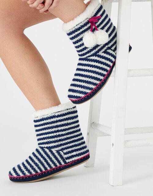 Stripe Pom-Pom Knit Slipper Boots, Blue (NAVY), large