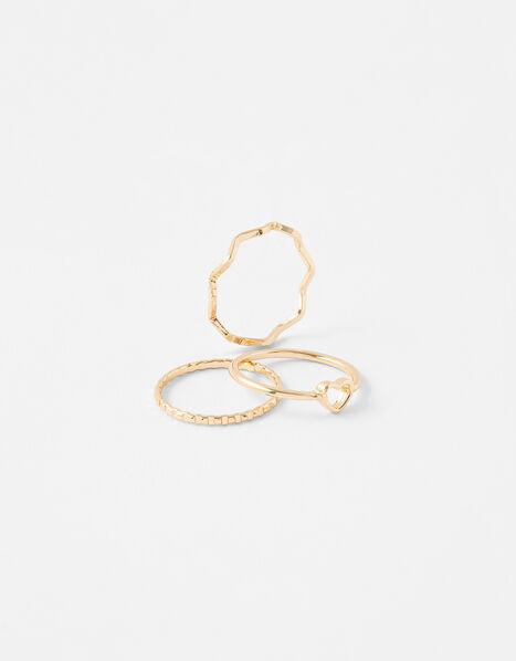 Heart Wave Ring Set Gold, Gold (GOLD), large