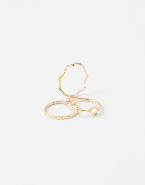 Heart Wave Ring Set, Gold (GOLD), large