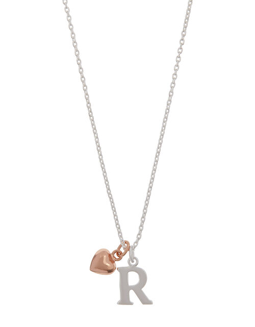 Sterling Silver Initial Necklace with Heart Charm - R, , large