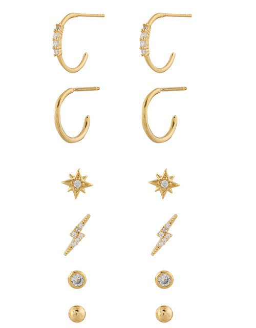 Gold-Plated Sparkle Stud Earring Multipack, , large