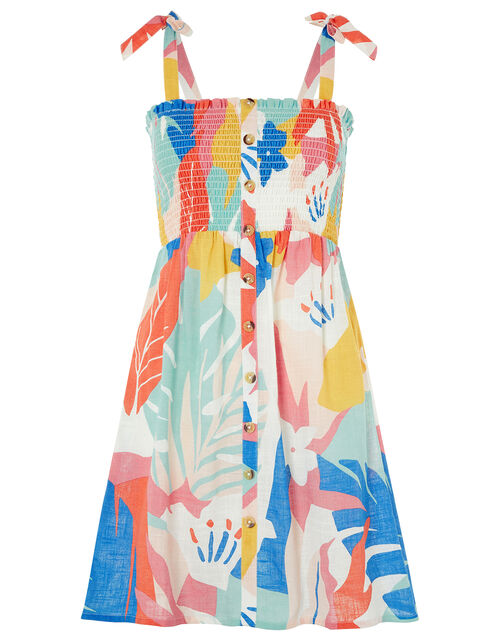Palm Print Dress in Pure Cotton, Multi (PASTEL-MULTI), large