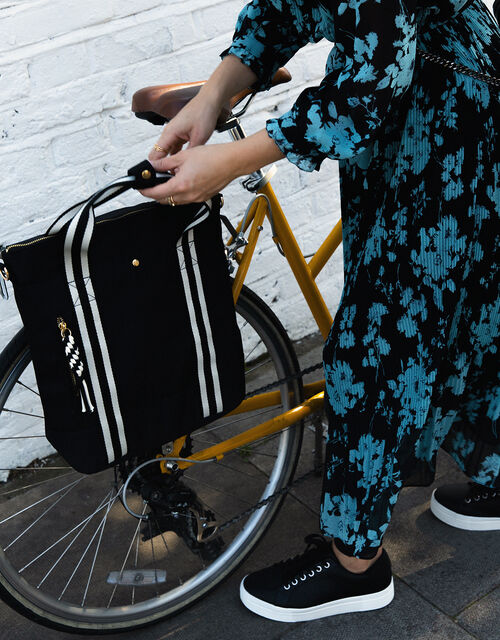 Portobello Large Pannier Bike Bag, Black (BLACK/WHITE), large