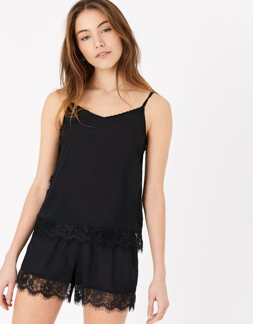 Lace Trim PJ Set, Black (BLACK), large