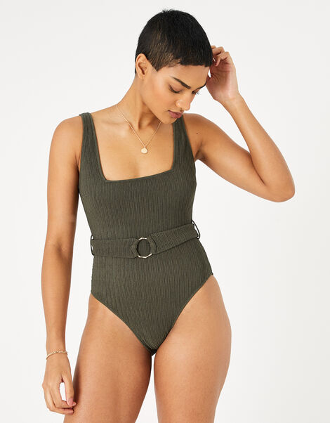 Square Neck Belted Swimsuit Green, Green (KHAKI), large
