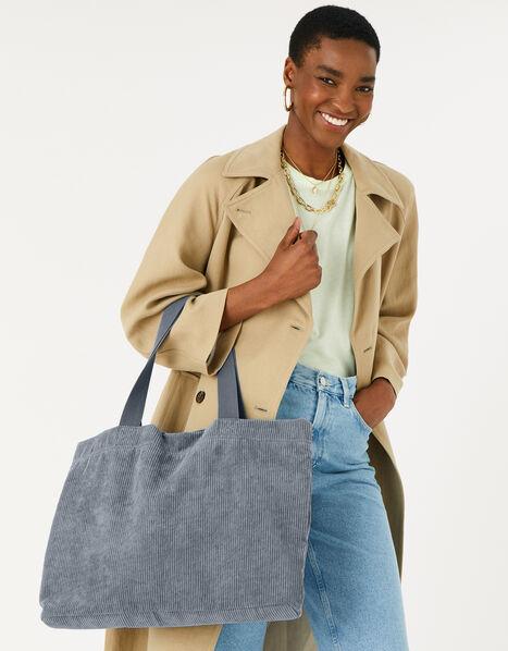 Cord Shopper Bag Grey, Grey (GREY), large