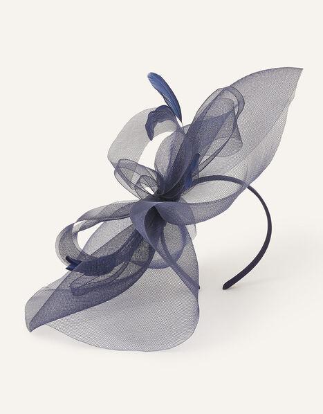 Rhea Oversized Bow Fascinator Headband Blue, Blue (NAVY), large