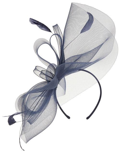 Rhea Oversized Bow Fascinator Headband, Blue (NAVY), large