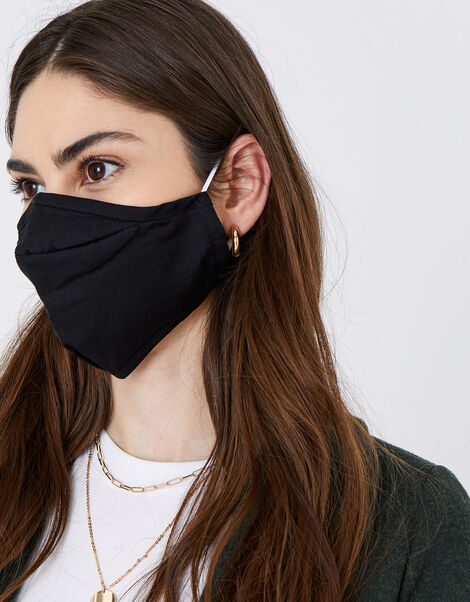 3D Face Covering with Pocket in Pure Cotton Black, Black (BLACK), large