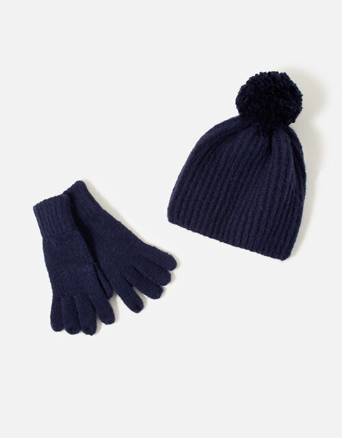 Girls Glove and Hat Set , Blue (NAVY), large