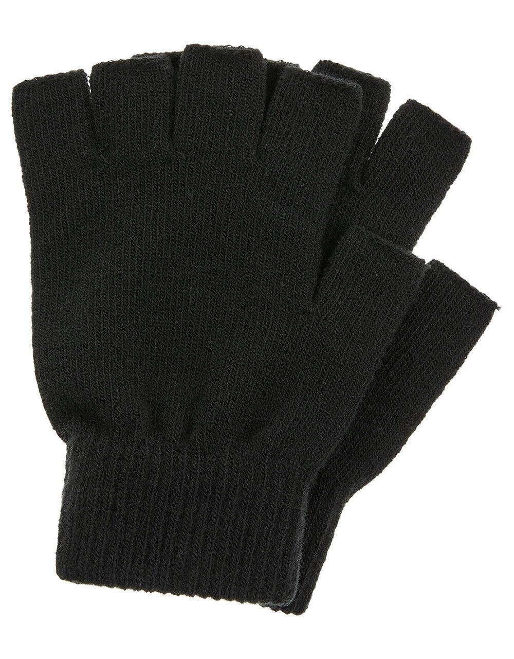 Plain Fingerless Gloves, Black (BLACK), large