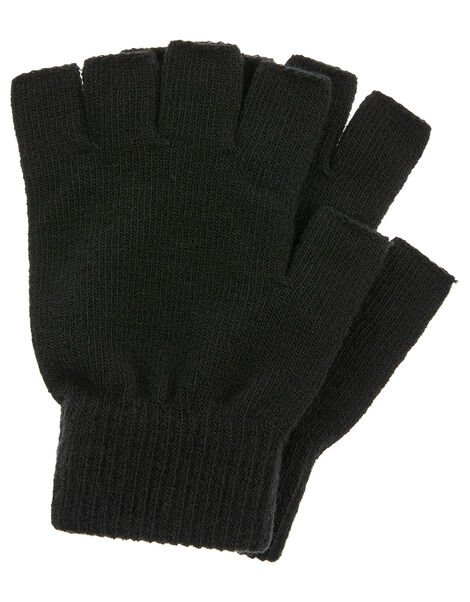 Plain Fingerless Gloves Black, Black (BLACK), large