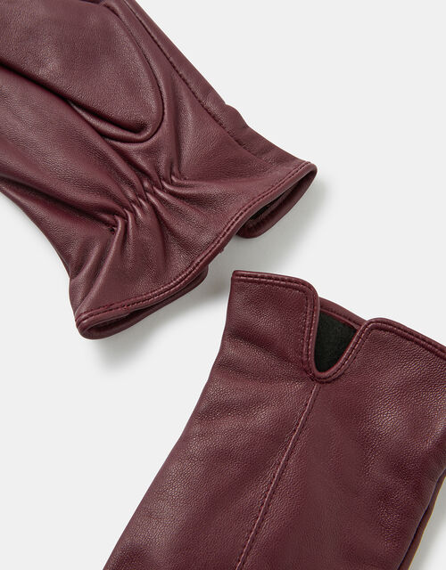 Luxe Leather Gloves, Red (BURGUNDY), large