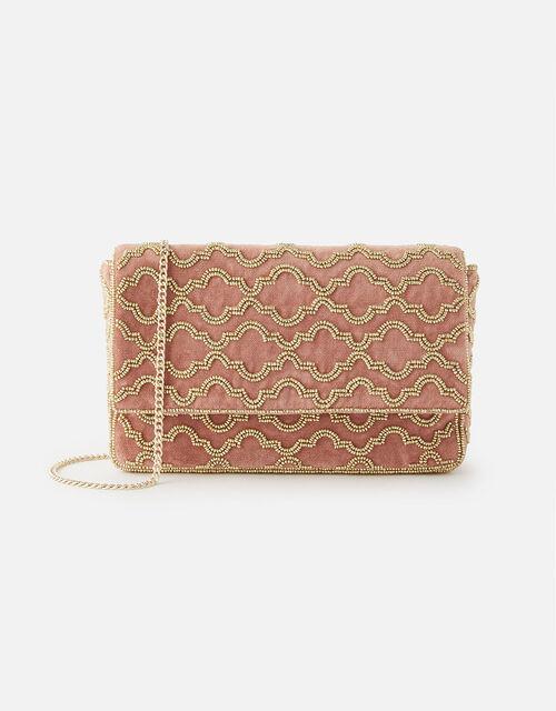Grecian Tile Velvet Clutch Bag , Pink (PINK), large