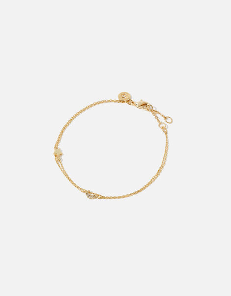 Gold-Plated Star and Moon Bracelet, , large