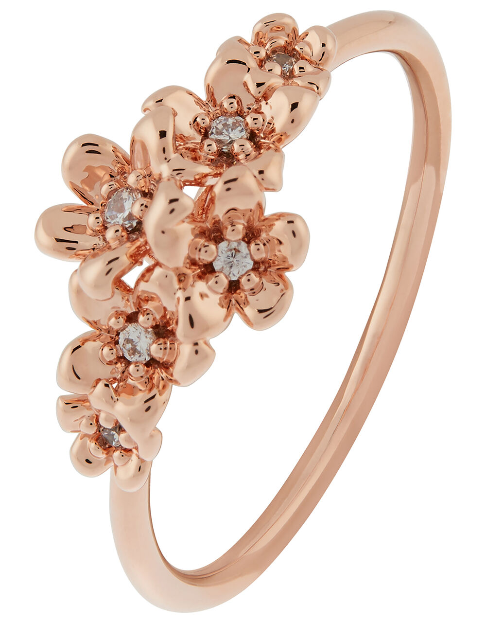 Rose Gold-Plated Flower and Pavé Ring, Gold (ROSE GOLD), large