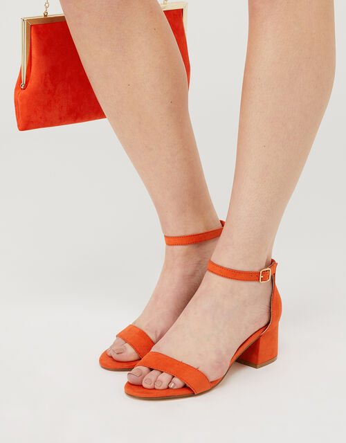 Block Heel Sandals, Orange (ORANGE), large