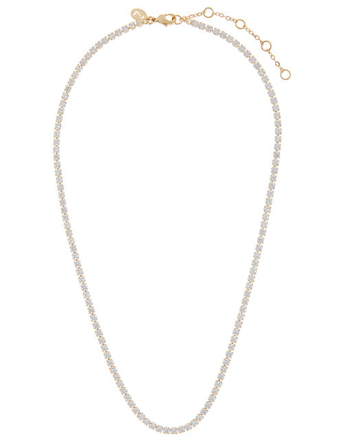 Gold-Plated Crystal Tennis Necklace, , large
